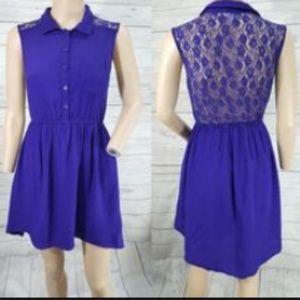 Roxy Hi low dress collared V neck lace back button